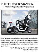 Renault Z.E. Twizy - Vergleichstfahrt des Stadtspiegels bestanden