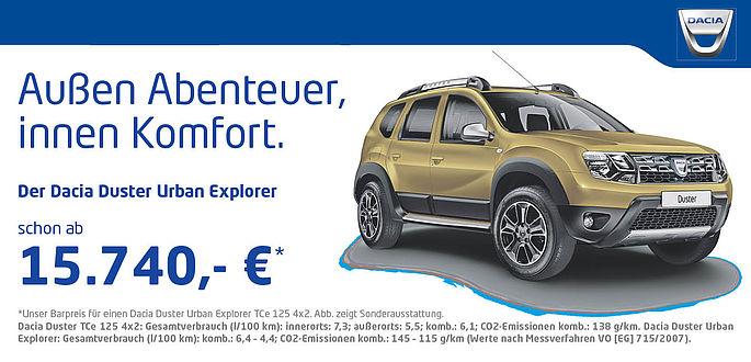 Dacia Duster Urban Explorer Sondermodell im Autohaus Boden in Essen und Mülheim