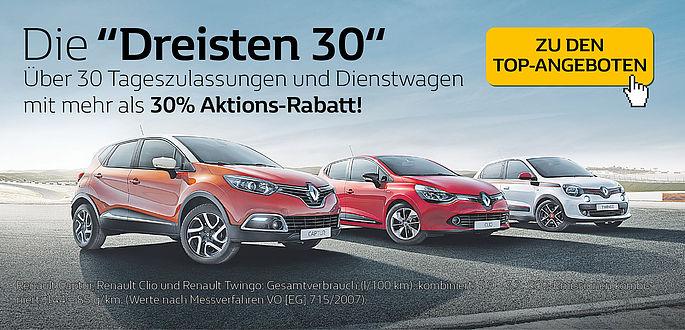 Das Autohaus Boden in Essen bietet bei der neuen Renault Twingo Aktion mehr als 30% Prozent Rabatt auf Neuwagen mit Tageszulassung