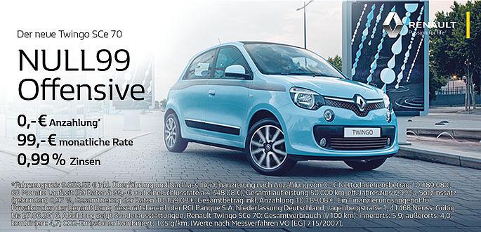 Das Autohaus Boden ruft zur Null 99 Offensive - Der Renault Twingo mit 0 Anzahlung, 99 Euro mtl. und 0,99% Zinsen