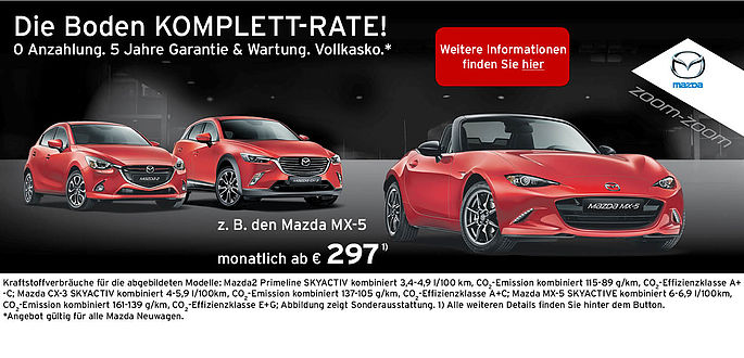 Mazda Komplett-Rate: MX-5 mit Wartung und Garantie, Vollkasko und ohne Anzahlung