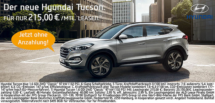 Hyundai Tucson für 215 Euro Privatleasing im Autohaus Boden