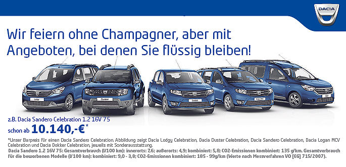 Dacia Sondermodelle Celebration im Autohaus Boden in Essen und Mülheim