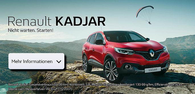 der neue Renault Kadjar wird im Autohaus Boden bei der Premiere der Öffentlichkeit vorgestellt. In Essen und Mülheim, sowie Oberhausen und Duisburg der Renault Vertragspartner, Werkstatt und Autohändler mit Gebaruchtwagen und finanzierungsangeboten