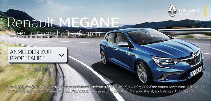 Der neue Renault Megane im Autohaus Boden in Essen und Mülheim. Melden Sie sich jetzt schon an für eine exklusiver vorab Probefahrt noch vor der offiziellen Fahrzeugpremiere