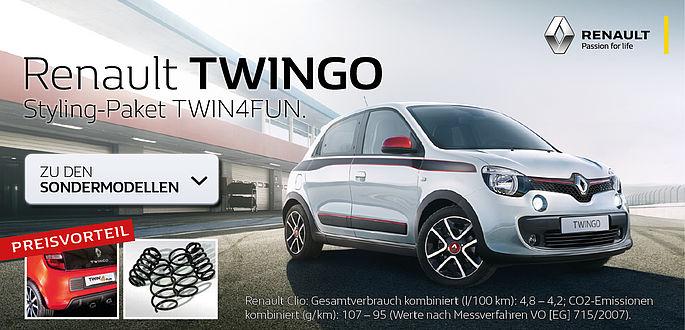 Der Renault Twingo mit Twin4Fun Styling Paket Tieferlegung und Sportauspuff im Autohaus Boden